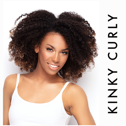 Beautiful woman wearing kinky curly hair with blonde tips. SL Raw virgin human hair extensions