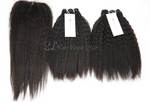 Brazilian Kinky Straight Blow-Out Hair with Lace Closure Bundle Deal