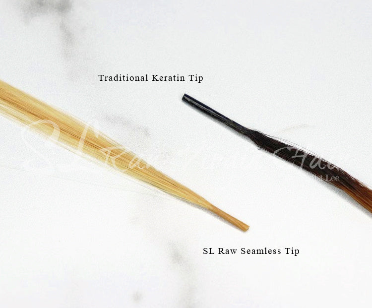 side by side of a traditional keratin i-tip extensions and SL Raw Seamless I-tip. The New innovative way to install your Keratin I-tip hair extensions