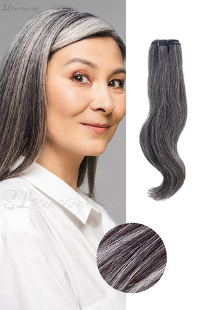 Displayed is Beautiful woman wearing  SL Raw Virgin Hair Salt and Pepper gray hair vietnamese human hair bundles with a slight wave. beautiful hair wefts for a perfect sew in or pronto weave