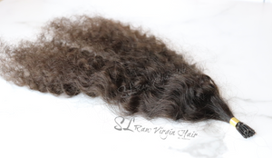 100% Raw Virgin Curly I-tip Hair Extensions Micro Links. Perfectly matches well with natural curl patterns 3A-4A