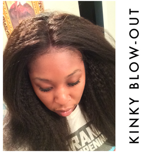 African American woman wearing kinky blowout bundles with lace closure. Deal
