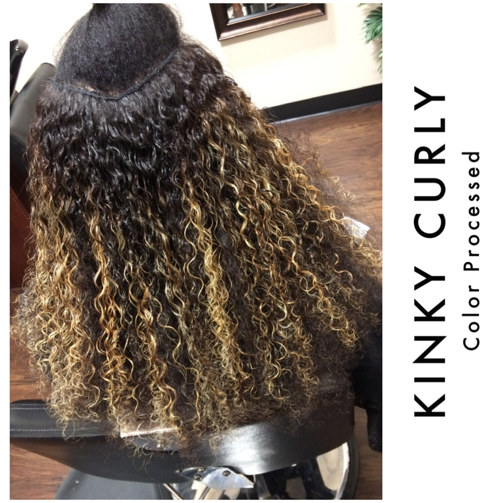 Kinky Curly hair bundle with Highlights. Hair can be colored and Curls will bounce back with ease. Curly hair wet 4A Hair