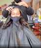 Professional Hairstylist  shows off SL Raw Virgin Hair Kinky straight I-tip collection in her salon Micro Link install video. See before and after. She installed 150pcs .