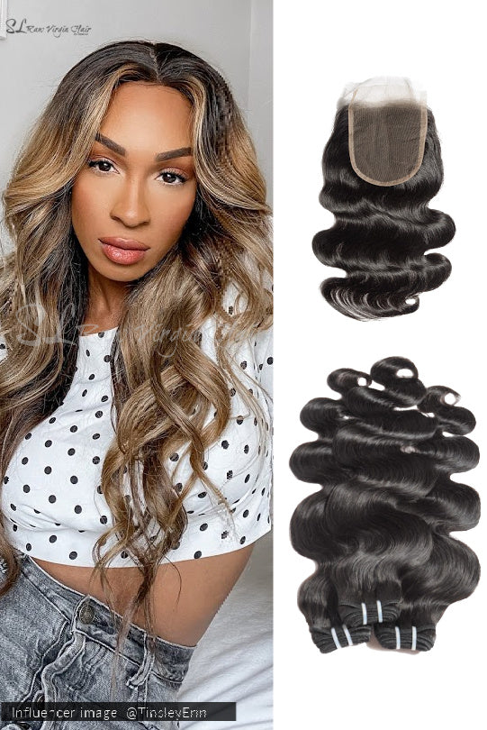 100% Natural Wavy Hair with Lace Closure Bundle Deal