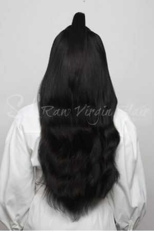 Back of the Raw natural wavy hair bundles in 20 inch by SL raw virgin hair