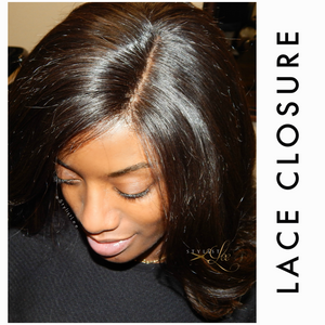 Glueless Indian human hair lace closure 4*4 hand-tied knots Indian natural wavy installed by Stylist Lee
