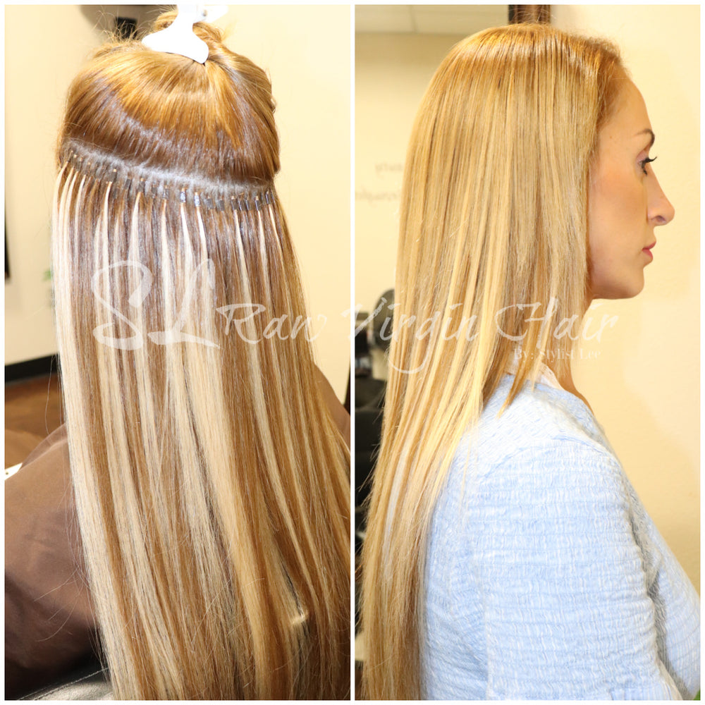 "Blonde hair woman Before and after I-tip results using Seamless micro link install by Stylist Lee using 20"" Platinum Ash Blonde #24 & Chestnut brown Seamless Straight I-Tip Hair Extensions (135g)"