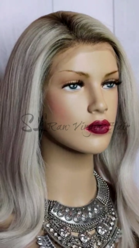 "Load and play video in Gallery viewer, 14"" Icy Grey Lace Front Wig (M) - Vicky"