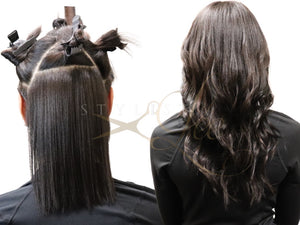 Beautiful hair results - back of head up close before and after of SL Raw virgin Seamless Natural black keratin i-tips