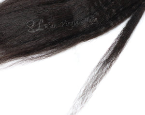 This is up close texture shot of SL Raw Kinky Straight I tip hair extensions. These tips can be used for micro links, Fusions, or Brazilian knotting. Hair texture matches great with 4A-4c hair types Blow dried. Available in 50 pcs