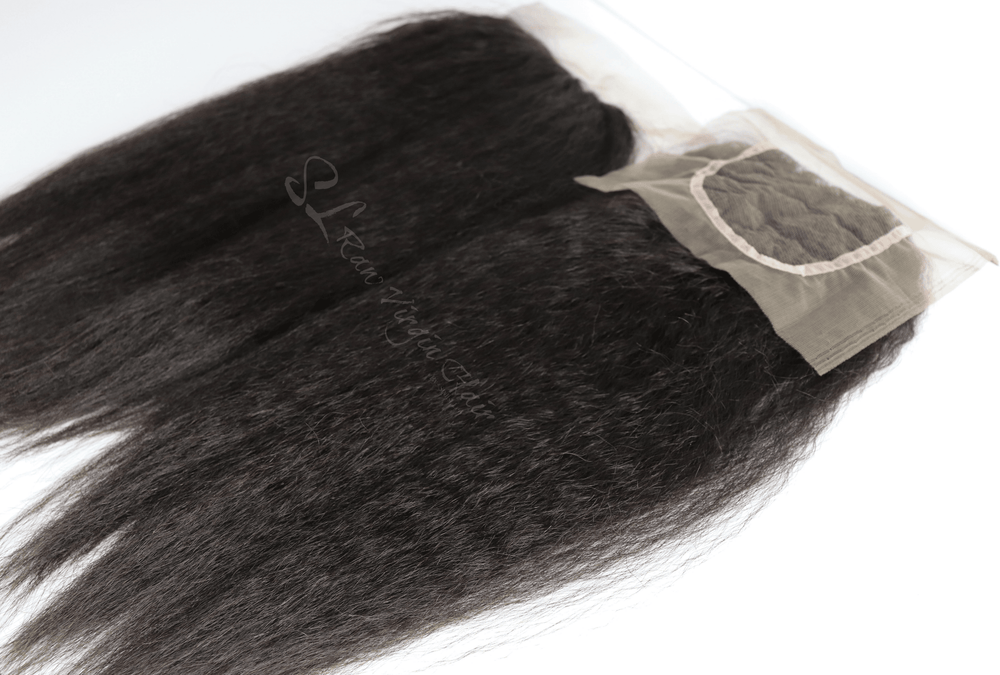 Brazilian Kinky Straight Blowout Lace Closure:SL Raw Virgin Hair