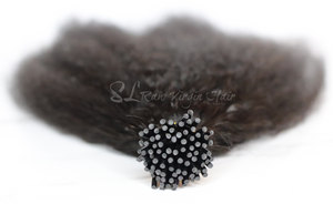 Up close shot of Kinky Straight I-tip Bundle of 75 links by SL Raw Virgin Hair