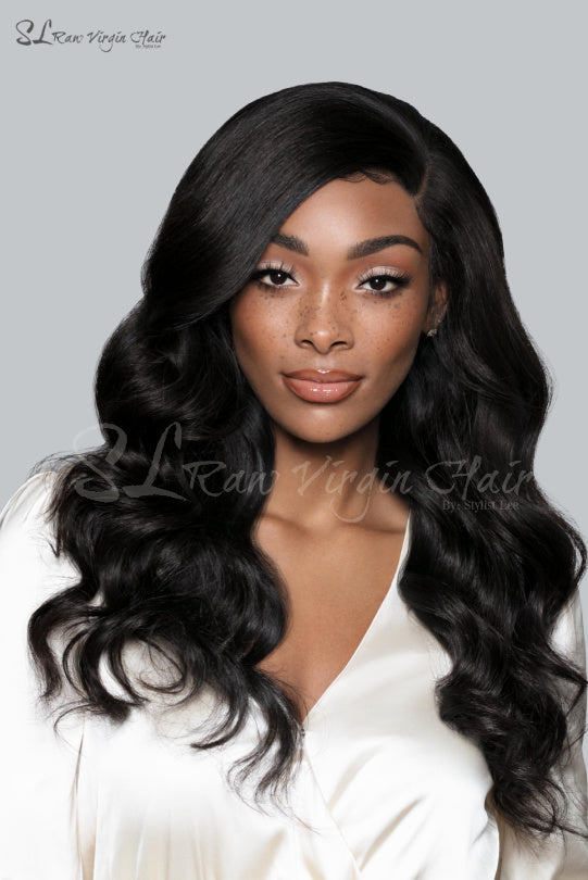"Beautiful black woman - SL Raw Girl wearing Side part 20"" Long Natural Wavy Natural Black Lace Front wig with a 13x4 Frontal. Free parting hair. Baby hairs. Beautiful natural hairline. Lace Front Wig so easy to apply on for everyday wear."