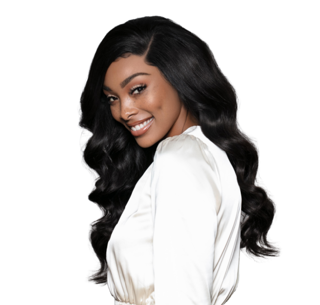 Beautiful black woman wearing 20 inches in SL Raw Wavy Textured Wig