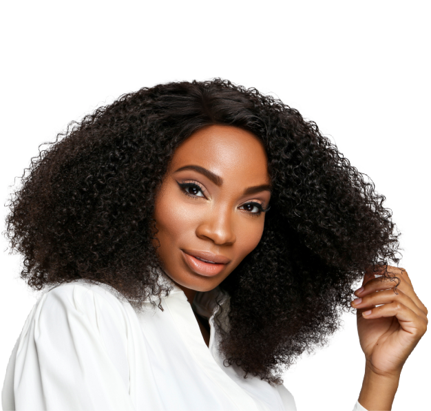 Beautiful black woman wearing 20 inches in SL Raw Kinky curly Textured Hair