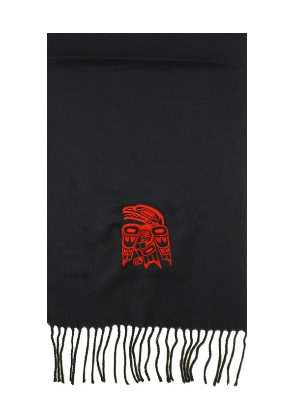 Raven Embroidered Acrylic Scarf