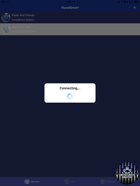 Connecting to device screen for FluvalSmart mobile app