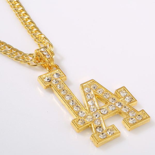 Iced Out 18K Gold/Silver Los Angeles Pendant