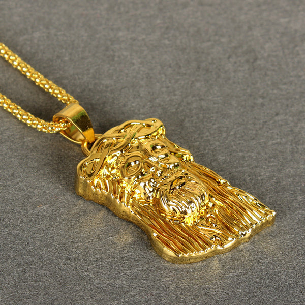 Basic 18k Gold Jesus Piece Pendant