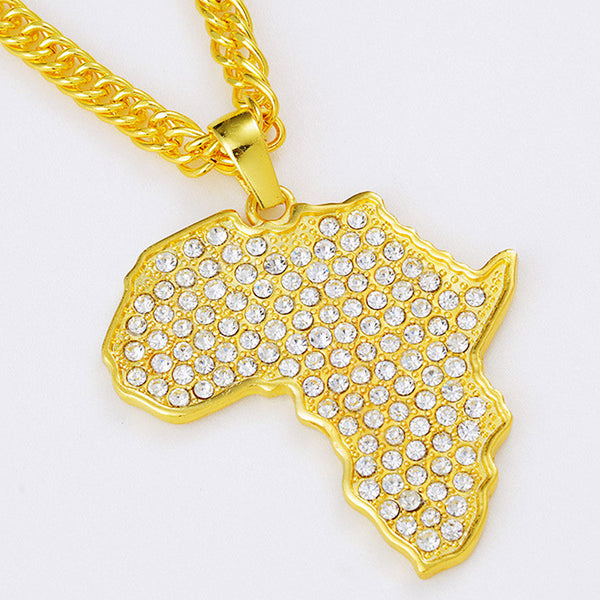 Iced Out 18K Gold African Map Pendant