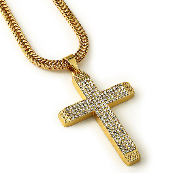 Four Rows Iced Out 18K Gold/Silver Cross Pendant