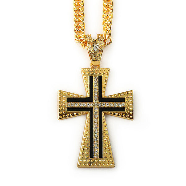 Long Iced Out 18K Gold Black Cross Pendant