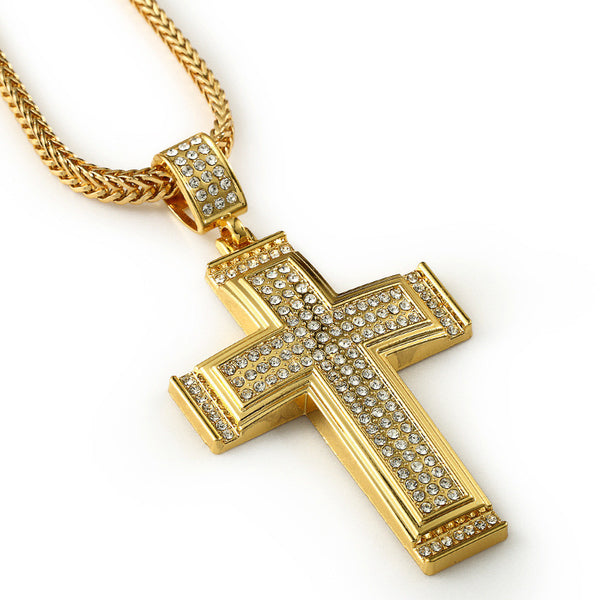 Three Rows Iced Out 18K Gold Cross Pendant