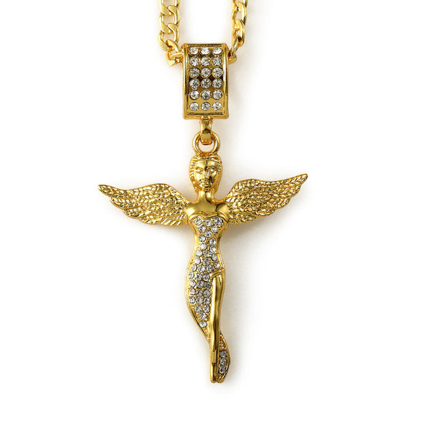 Iced Out 18K Gold Fairy Pendant