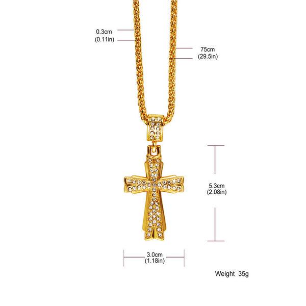 Fully Iced Out 18K Gold X Cross Pendant