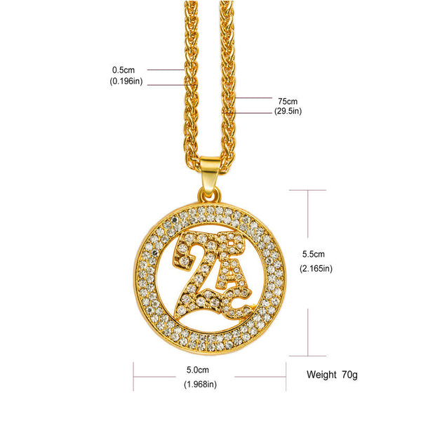 Fully Iced Out 18K Gold 2Pac Medallion Pendant