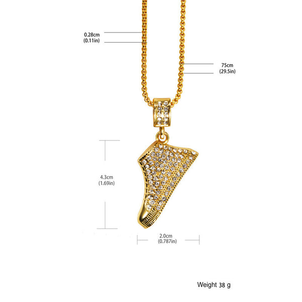 Fully Iced Out 18K Gold Sneakers Pendant