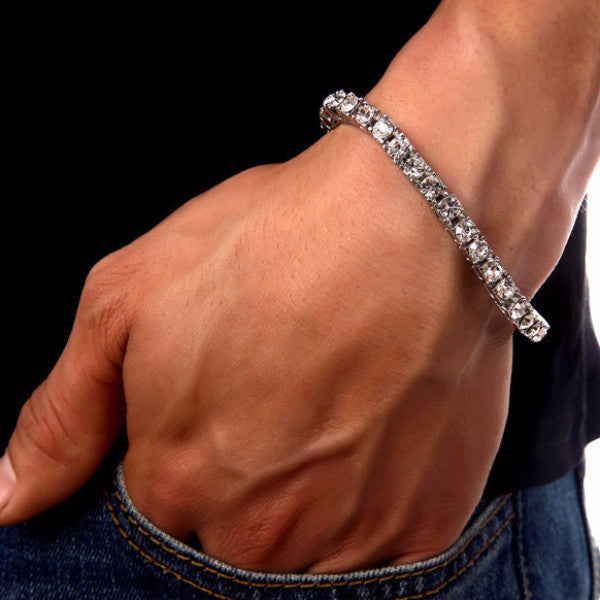Iced Out Single Row 6mm 18K Silver Tennis Bracelet