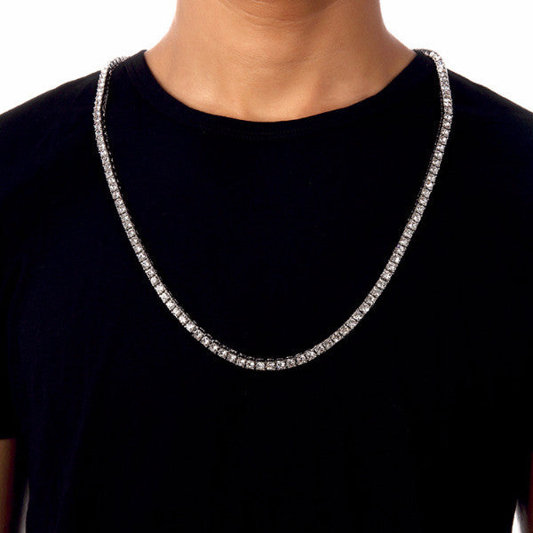 Iced Out Single Row 6mm 18K Silver Tennis Chain