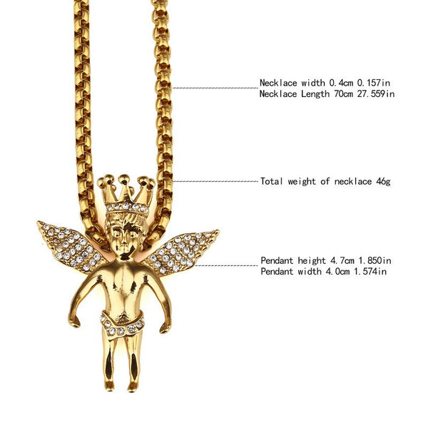 Iced Out 18K Gold King Angel Pendant