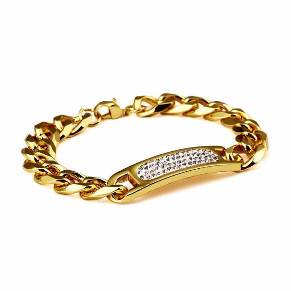11mm 18K Gold Four-Row Rhinestone Cuban Bracelet