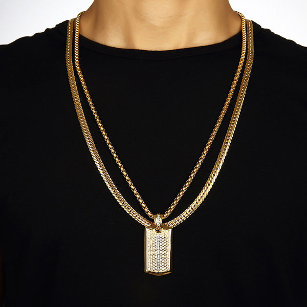 Iced Out 18K Gold Dog Tag Pendant