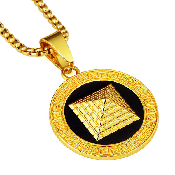 18K Gold Pyramid Medallion Pendant