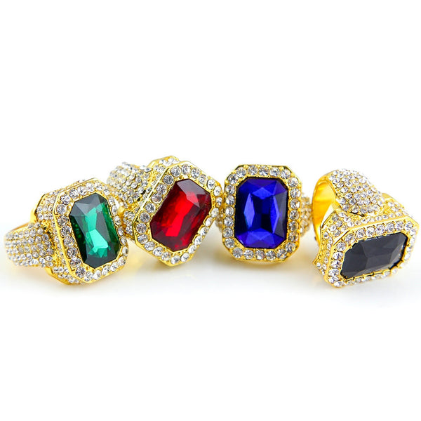 Iced Out 18K Gold Ruby/Sapphire/Emerald/Black Stone Royal Ring