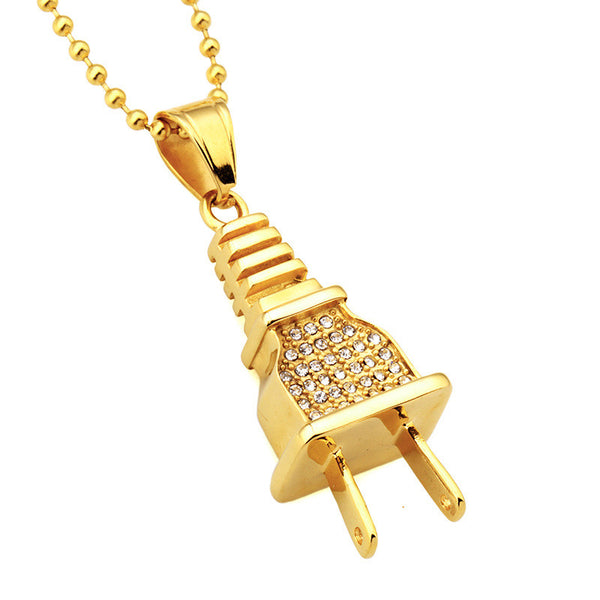 Iced Out 18K Gold Plug Pendant