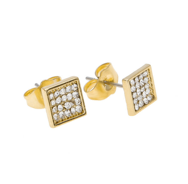 Iced Out 18K Five Rows Gold/Silver Earrings
