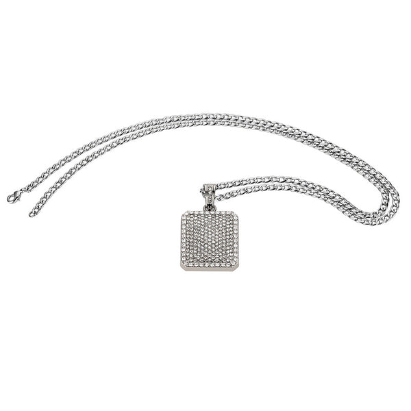 Fully Iced Out 18K Gold/Silver Square Tag Pendant