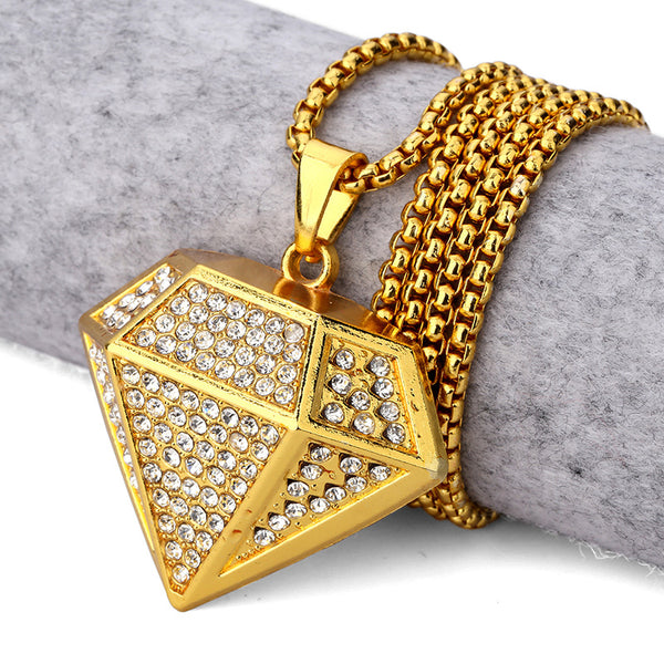 Iced Out 18K Gold 3D Diamond Pendant