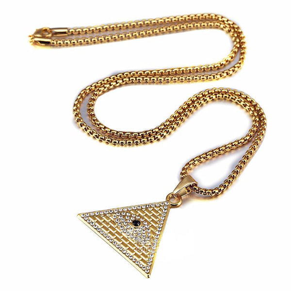 Iced Out 18K Gold Eye of Providence Pendant