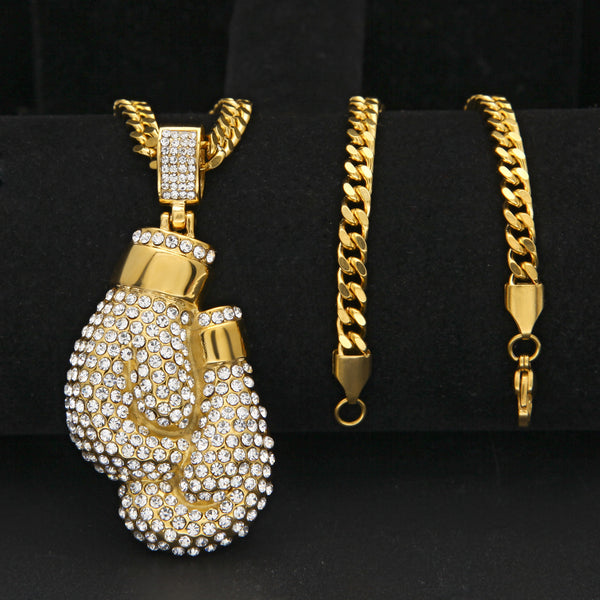 Fully Iced Out 18K Gold Boxing Gloves Pendant