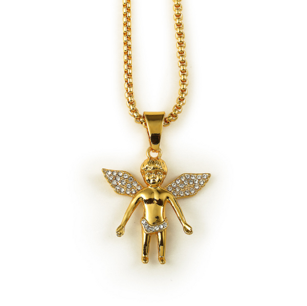 Mini Iced Out 18K Gold Baby Angel Pendant