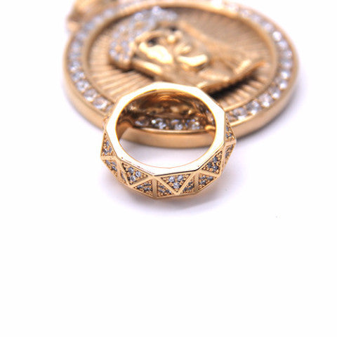 Iced Out 18K Gold Diamond Shaped Ring