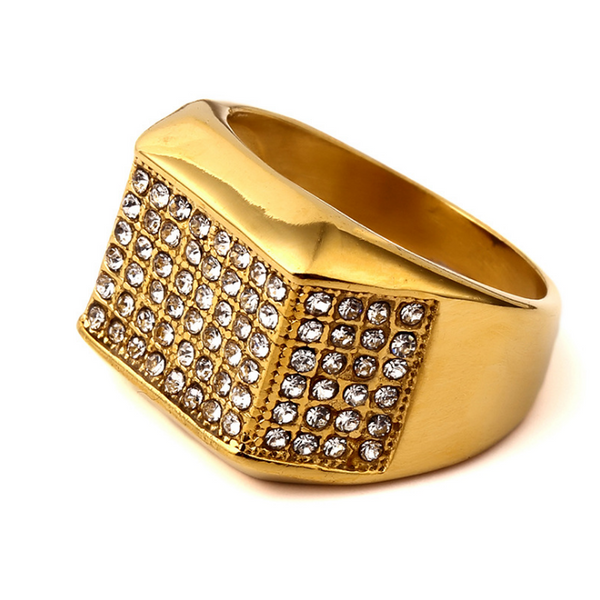 Iced Out Six Rows 18K Gold Lustrous Ring