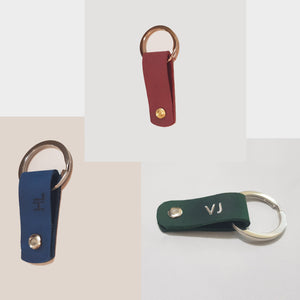 Personalised Handcrafted Short Looped Leather Keyring