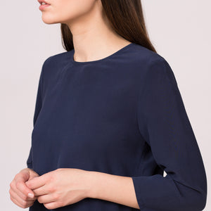 pure silk blouse 3/4 three quarter sleeves navy